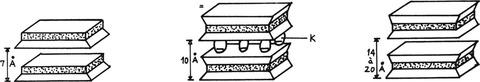Obr. 1 Kaolinit, illit, montmorillonit[2]
