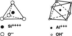 Obr. 2 Tetraedr skřemíkovým jádrem, oktaedr shliníkovým jádrem[2]