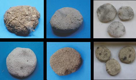 Obrázek 4 Hliněné omítky, které byly sušeny ve vlhkosti okolo 65%, modrý podklad po28 dnech, šedý podklad po7 dnech; horní řada Hrubá sřezankou (RV50%, 28. den); Žlutá Cottage (RV65%, 28. den); Antik bílá (RV100%, 7. den); spodní řada Antik bílá (RV65%, 28. den); Jemná Econom (84%, 28. den); Žlutá Cottage (100%, 7. den)