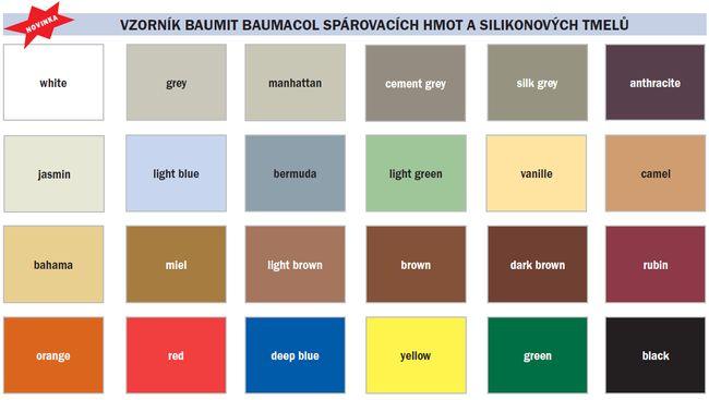 Vzorník Baumit Baumacol spárovacích hmot a silikonových tmelů 2012